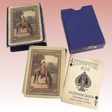 Playing Cards With Two Cent Revenue Stamp, American Indian On Horseback Circa 1894-1917