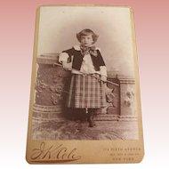 Cabinet Card of Boy With Riding Crop N.Y.