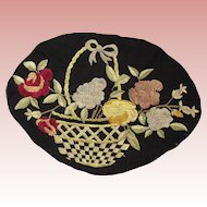 Basket of Flowers Embroidered Doily