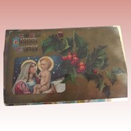 Two Christmas Postcards, Religious, One Foreign