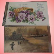 New Years Postcard and A Christmas Postcard