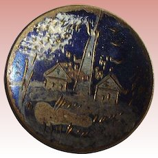 Victorian Hand Painted Brass Button Outdoor Scene