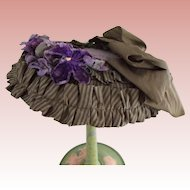 Artist  Doll Hat, Victorian Style All Old Fabrics