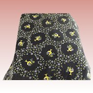 Old Fabric With Fruit, Black,Yellow,Purple and Green Print