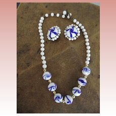 Beautiful Blue and White Glass Necklace