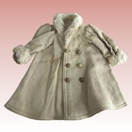 Doll Coat With Fur Collar and Cuffs, French Buttons With Fleur de Lis
