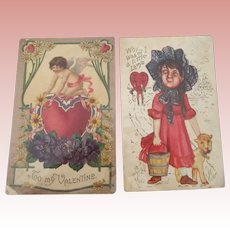 Pair of Valentine Postcards 1912