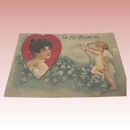 Valentine Post Card With Cupid From 1908