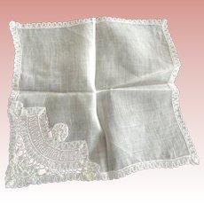Three White Handkerchiefs One a Bruxelles Souvenir, A Wedding Hankie and Another.