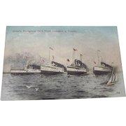 ONTARIO NAVIGATION CO.'S FLEET LEWISTON & TORONTO Ships Postcard