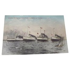 ONTARIO NAVIGATION CO.'S FLEET LEWISTON & TORONTO Ships Postcard