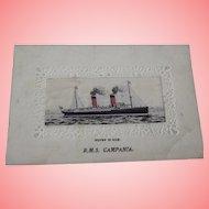 R.M.S. Campania Postcard Ship Is Woven Silk