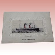 R.M.S. Campania Postcard Ship Is Woven Silk
