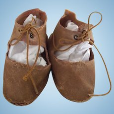 Brown Cloth Doll Shoes