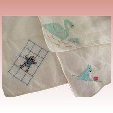 Three Vintage Child's Handkerchiefs With Swan, Child,Dog Motif