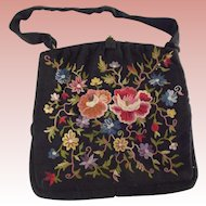 Vintage Richel Faille Purse With Silk Embroidery