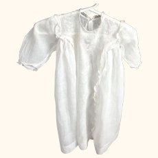 Victorian Lawn Baby Gown With Front Lace and Embroidered Panel For Baby or Large Doll
