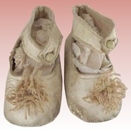 White Leather Doll Shoes With Button Closure and Fancy Toe Trim