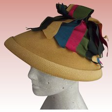 Straw Hat Probably 40's With Multi Colored Grosgrain Ribbons