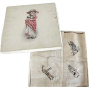 Old Child's Handkerchief In original Box, Embroidered Figures