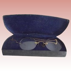 Pince-Nez Glasses With Chain and Hairpin As Is