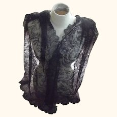 Victorian/Edwardian Black Lace Shawl