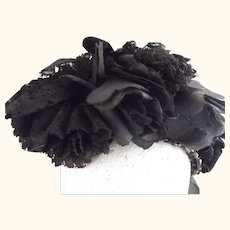 Victorian Mourning Straw Hat With Black Roses, Lace, Velvet and Grosgrain Ribbon