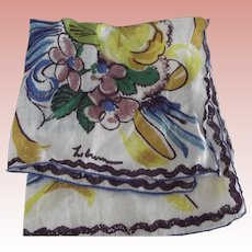 Le Brun Handkerchief With Blue Feather Design