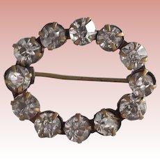 Early Rhinestone Oval Pin Clear Rhinestones Gold Tone Metal