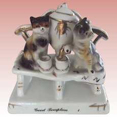 """Victorian Fairling """"Good Templars"""" With A Pair of Cats Having Tea"""