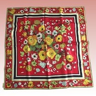 Vintage  Made In France Floral Silk Scarf Made For Eugenie Buchener N.Y.