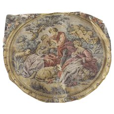 Pair of Matching Tapestries, Pastoral Scene With Cherubs, Women, Sheep and a Man - Red Tag Sale Item