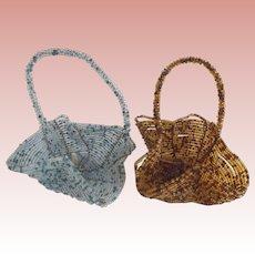 Pair of Vintage Beaded Baskets
