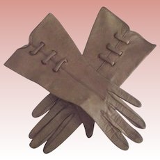 Art Deco Ear Brown Leather Gloves