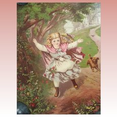 Early Victorian Print of A girl and Her Dog Dated 1878