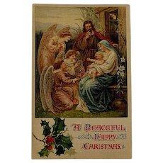 Edwardian Ernest Nister Religious Christmas Postcard