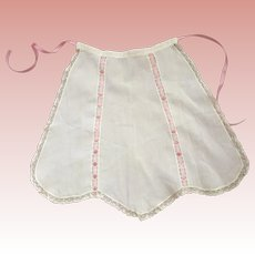 Vintage Tea Apron With Insertion Lace  With Pink Ribbon