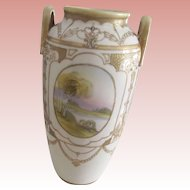 Noritake Vase , Art Nouveau, Painted Scenes, As Is