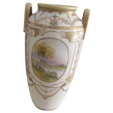 Noritake Vase , Art Nouveau, Painted Scenes, As Is