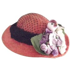 Felt Doll Hat With Netting, Flowers and Bird - Red Tag Sale Item