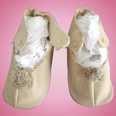 Beige Cloth Shoes With Original Toe TRim