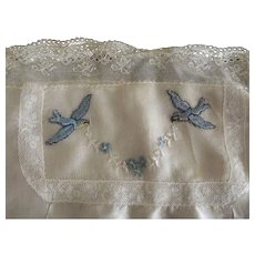 Embroidery of Blue Birds On Silk For Framing Needlework