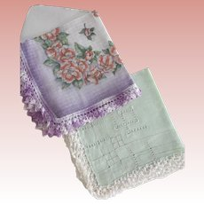 Pair of Crochet Edged Handkerchiefs