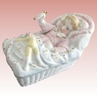 Trinket Box With Baby and Clown Doll On The Cover