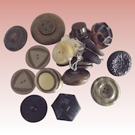 Old Large Buttons, Celluloid, Plastic
