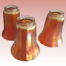 Three Old Carnival Glass Shades