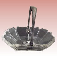 Clear Heavy Glass Basket With Silver Plate Handle  For Candy,Olives, Flowers Etc