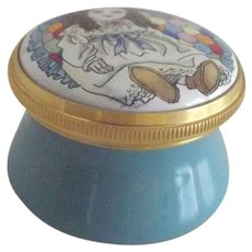 Hand Painted Staffordshire Small Porcelain  Box With A doll On Top