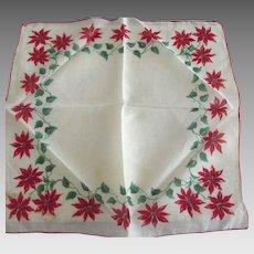 Handkerchief With Poinsettias