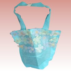 Blue Organdy With Flowers Tote Bag 1980's